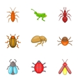 Bugs icons set cartoon style vector image