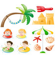 children swimming and beach objects vector image vector image