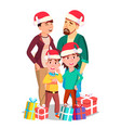 christmas family portrait dad mother vector image