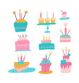 collection different cakes with candles set vector image