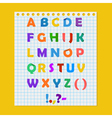 Complete colorful paper alphabet on a yellow vector image