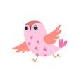 cute pink owlet running adorable owl bird vector image vector image
