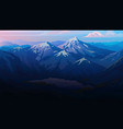 dark blue mountains layered landscape and pastel vector image vector image