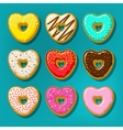 different donuts in shape heart vector image vector image