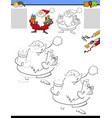 drawing and coloring worksheet with santa claus vector image vector image