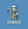 electrician retro mascot cartoon logo icon vector image vector image