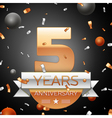 Five years anniversary celebration background with vector image vector image
