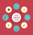 flat icons acoustic quaver harmonica and other vector image vector image