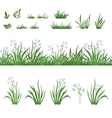 Grass and flowers seamless and sets vector image
