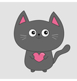 Gray contour cat holding pink heart Cute cartoon vector image vector image
