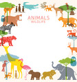 group wild animals zoo frame vector image vector image