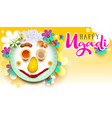 happy ugadi text traditional indian holiday food vector image vector image
