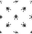 humanoid robot pattern seamless black vector image vector image