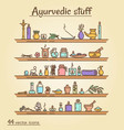 icons set - ayurvedic staff vector image