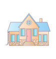 isolated house on white flat icon suburban vector image