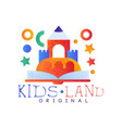 kids land logo original creative label template vector image vector image