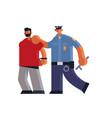 male police officer arrested criminal policeman in vector image vector image