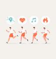 men running character with smartwatch vector image