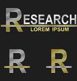 Metallic business font design - letter R vector image vector image