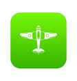 military fighter plane icon digital green vector image vector image