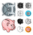 money and finance cartoonblackflatmonochrome vector image