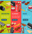 music instruments banner vecrtical set set vector image vector image