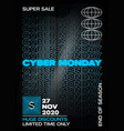 neon cyber monday typography banner poster or vector image vector image