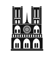 Norte Dame Cathedral Paris icon simple style vector image
