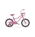 pink bike with training wheels kids bicycle vector image vector image