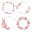 pink tulip wreath frame for spring or mothers day vector image vector image
