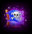 pirate flag video game icon with sparkles on dark vector image vector image