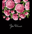 print for t-shirt with pink peonies flowers vector image vector image