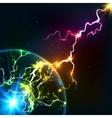 Rainbow colors shining cosmic plasma lightning vector image