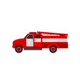 red fire truck emergency service for firefighting vector image