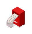 red mail post box isolated on white background vector image