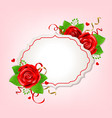 romantic banner with red roses vector image vector image