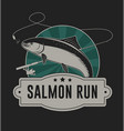 salmon run badge vector image vector image