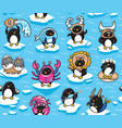 seamless pattern of penguins zodiac signs in vector image
