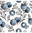 Seamless pattern with natural fresh blueberries
