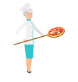 senior caucasian chef preparing pizza vector image vector image