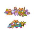 set of big kid toys piles hand drawn vector image vector image