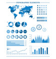 set of blue infographic elements demographic vector image