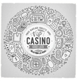 Set of Casino cartoon doodle objects symbols and vector image vector image