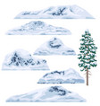 set of snow-capped mountains and hills vector image