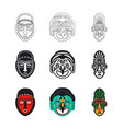 set tribal african mask icons isolated on white vector image vector image