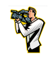 Side view of man holding video camera vector image vector image