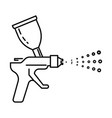 spray gun airbrushing device with paint spraying vector image