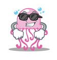 super cool cute jellyfish character cartoon vector image