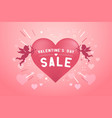 valentines day sale banner with cupid for campaign vector image vector image