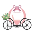 vintage pink carriage wedding flowers vector image